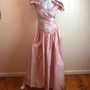 Vintage 80s/90s Blush Taupe Prom Dress
